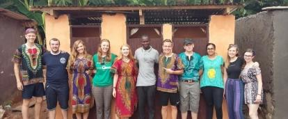A group of students built a toilet block as part of their building volunteer work in Ghana